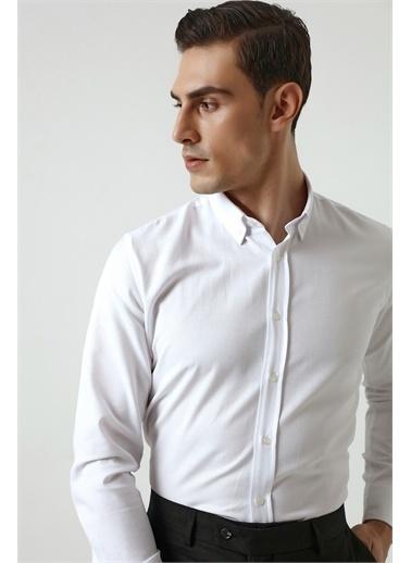 D'S Damat Slim Fit Armürlü Gömlek Beyaz